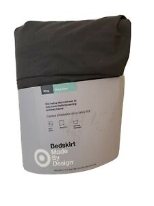 """Made By Design Dark Flat Gray Solid Bed Skirt (King)  14"""" drop damaged packaging"""