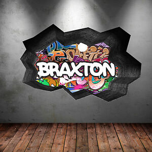 FULL COLOUR PERSONALISED GRAFFITI NAME CRACKED WALL STICKER DECAL MURAL WSD126