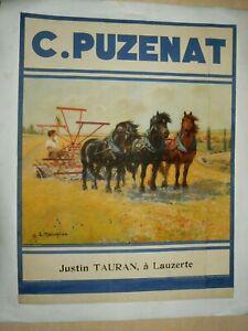Affiche Ancienne PUZENAT Faucheuse Chevaux  Tracteur Tractor Traktor Poster