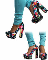 New Ladies Women's Club High Heel Platform Party Prom Classic Court Flower Shoes