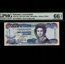 Bahamas 100 Dollars 1974(1992) P-56 * PMG Gem Unc 66 EPQ * Queen Elizabeth *