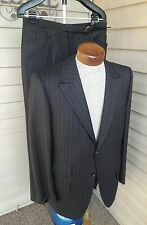 Vintage 60's 70's Kuppenheimer Peak Lapel Black Wool Suit 40 41 42 44 2 Button