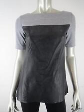 ROBERT RODRIGUEZ XS Sexy Black Leather Gray Jersey Short Sleeve Top Blouse EUC