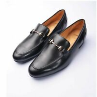 Men Loafer Slip On Black Party Casual Handmade Horse bit Calf Leather Shoe