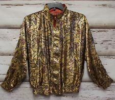 3216 La Phia Women XL Jacket Coat Cardigan Long Sleeve Reversible Gold Red Korea