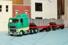 HO scale tractor trailers, Lindberg Ford 9000, dirt trailers set