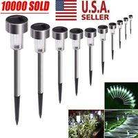 24X Garden Outdoor Stainless Steel LED Solar Landscape Path Lights Lamp New USA