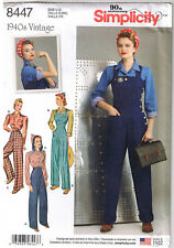 Vtg 40s Overalls Top Pants Rosie the Riveter WWII Sewing Pattern 16 18 20 22 24