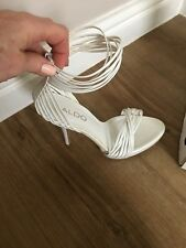 Aldo White Size 4 Strappy Sandals Worn Once With Box Cost £70