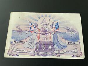 GREAT WHITE FLEET 1908 VISIT TO AUSTRALIA COMMEMORATION POSTCARD