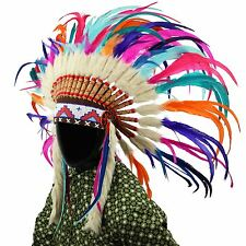 Indian Headdress Chief Feathers Bonnet Native American Gringo RAINBOW