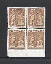 MALTA 1956-58 SG 282 MNH Block of 4 Cat £152