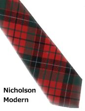 Tartan Tie Clan Nicholson Nicolson Red Modern Scottish Wool Plaid