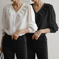 Women Ladies 3/4 Sleeve Shirts Blouse Ruffle V-neck Formal Office Tops Plus Size