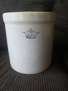 Vintage #3 Gallon BLUE CROWN  USA Crock Stoneware -Robinson Ransbottom - NICE