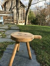 New listing Antique 1800's Primitive Wooden Hand Carved Vermont Milking Stool_ w/Handle