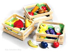 Kinder Kaufladen Holzkorb m Gemüse u Obst Zubehör 45005