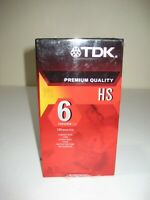 Lot of 3 TDK Premium Quality HS 6 Hours T-120 Blank VHS VCR Tapes NEW Sealed 3pk