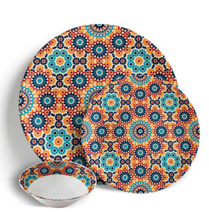 "Marrakech Sunrise - 18 Piece Dinner Set 10.5"" Plates 7.5"" Side Plates 7"" Bowls"