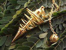 GOLD PLATED SPIRAL CONE HEALING DOWSING PENDULUM