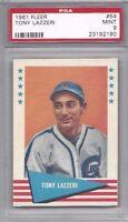 1961 Fleer baseball card #54 Tony Lazzeri Chicago Cubs PSA 9 New York Yankees