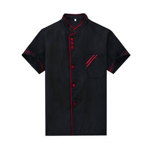 Chef Jacket Short Sleeves Shirt Hotel Waiters Kitchen Uniform for Women Men