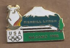 1998 Merrill Lynch Nagano Olympic Pin Mountain Bull USA Rings