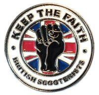 Keep The Faith British Scooterist Fist MOD Scooter Bike Enamel Metal Pin Badge