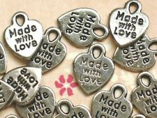 24pc ~MADE WITH LOVE~Silver Charms Scrapbook Card Craft