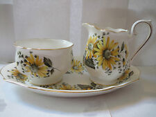 Royal Albert - Creamer and Open Sugar Bowl w/Tray - White with Yellow Flowers