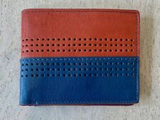 FOSSIL Cody Large Bifold RFID Purse Navy Blue Red *New*