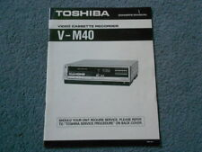 TOSHIBA V-M40 BETA MAX VCR Owners Manual Video Cassette Recorder Operating Guide