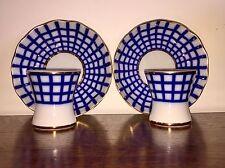 2x Lomonosov Porcelain Cobalt Cell Hand Painted 22 carat gold Egg Cup & Saucer