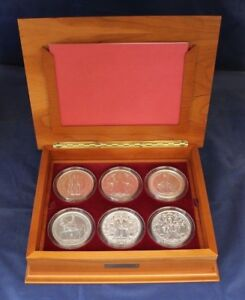 """Silver 5oz Medallion x 6 Set """"Great Seals of the Realm"""" in Case with COAs"""