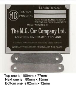 Replacement Vin Plate Identification Plate for MG + Body and engine plate BLANK