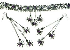 GUNMETAL SPIDERS CHOKER or EARRINGS purple halloween gothic punk necklace set S1