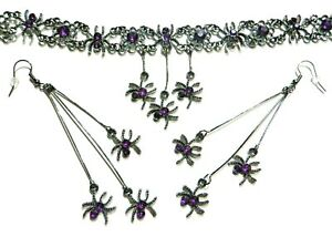 GUNMETAL SPIDERS CHOKER or EARRINGS purple halloween gothic punk necklace set S1