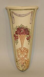 1920s Weller Pottery Art Deco Roma 10 Inch Wall Pocket Embossed Vase Red Roses