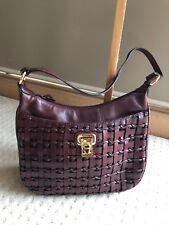 a28e46736775 ETIENNE AIGNER Bordeaux Red Weaved Leather Saddle Shoulder Handbag EUC