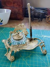 VTG Solid Brass Desk Art Nouveau Stand With Crystal Inkwell Set