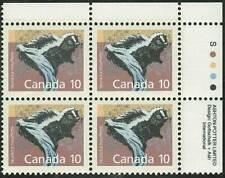 Canada sc#1160 Mammal : Skunk, Ur Imprint Block, Mint-Nh