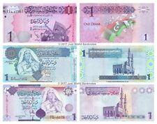 Libya 1 Dinar 2004 + 2009 + 2013 Set of 3 Banknotes 3 PCS UNC