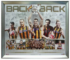 2013&2014 HAWTHORN  'BACK 2 BACK' PREMIERS PRINT FRAMED-HODGE MITCHELL ROUGHEAD