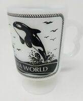 Vintage 1980's Sea World Milk Glass Pedestal Coffee Cup Mug Shamu &  Dolphins