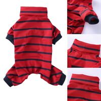 Striped Cotton Pet Dog Clothes Winter Warm Dog Jumpsuits Rompers Dog Pajama H6K6