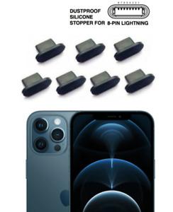 7stk iPhone 12 Pro Max Ladebuchse Staub Schutz Stecker Stöpsel Silikon Schwarz