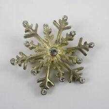 Hallmark Signed Kc Vintage Jewelry Snowflake Pin Brooch Blue Rhinestones