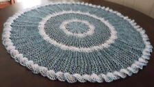 "New Hand Crochet Doily Centerpiece Tablecloth Blue White Large 33"" ROUND"