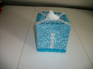 TURQUOISE WITH SILVER TRIM TISSUE BOX COVER
