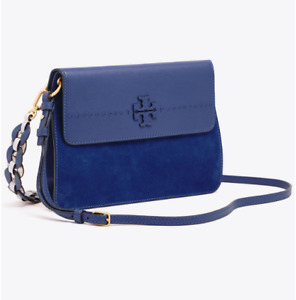 Tory Burch NEW McGraw Mixed Strap Indigo Blue Leather Suede Shoulder Bag $558